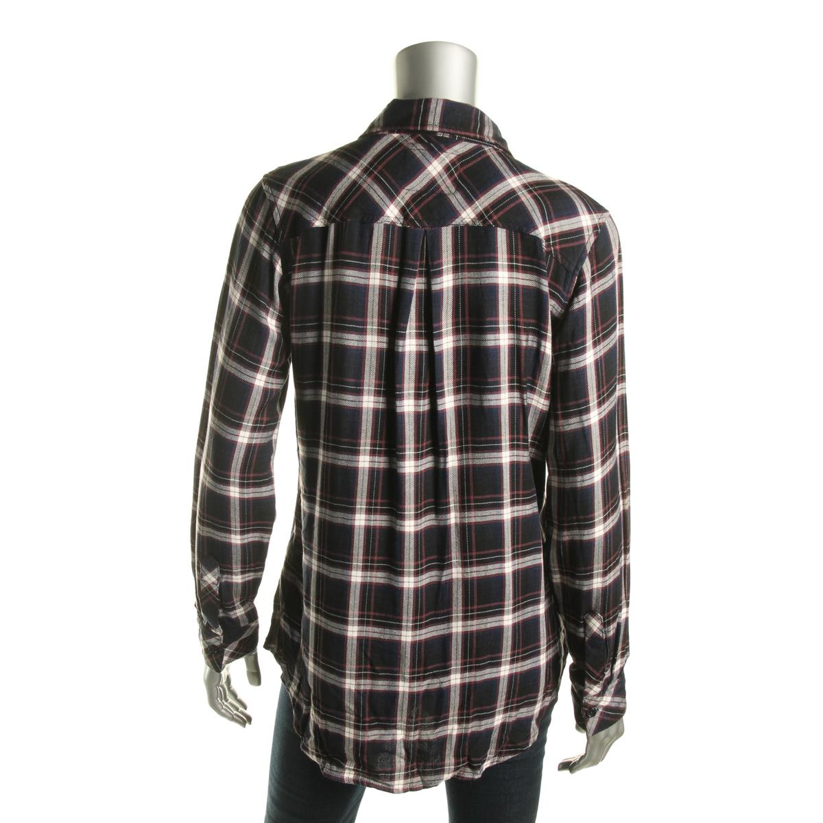 Rails 5268 Womens Plaid Collared Pocketed Button Down Top