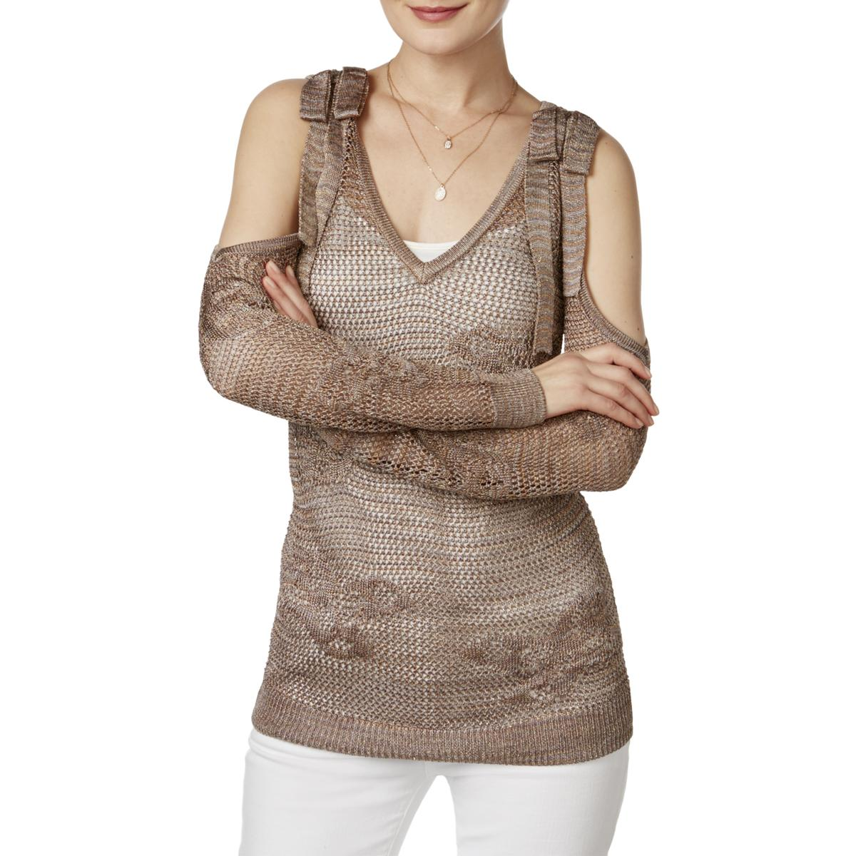 Inc Womens Metallic Off The Shoulder V Neck Sweater Top Bhfo 3877 Ebay