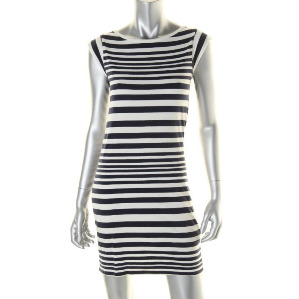 French Connection Striped Cap Sleeves Casual Dress