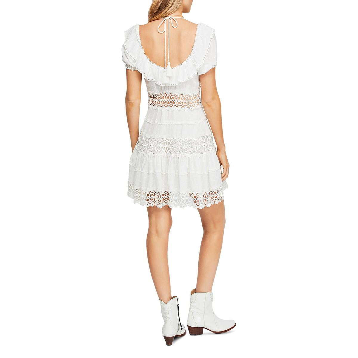 Free People Womens Cruel Intentions  Lace Ruffle Mini Casual Dress BHFO 4173