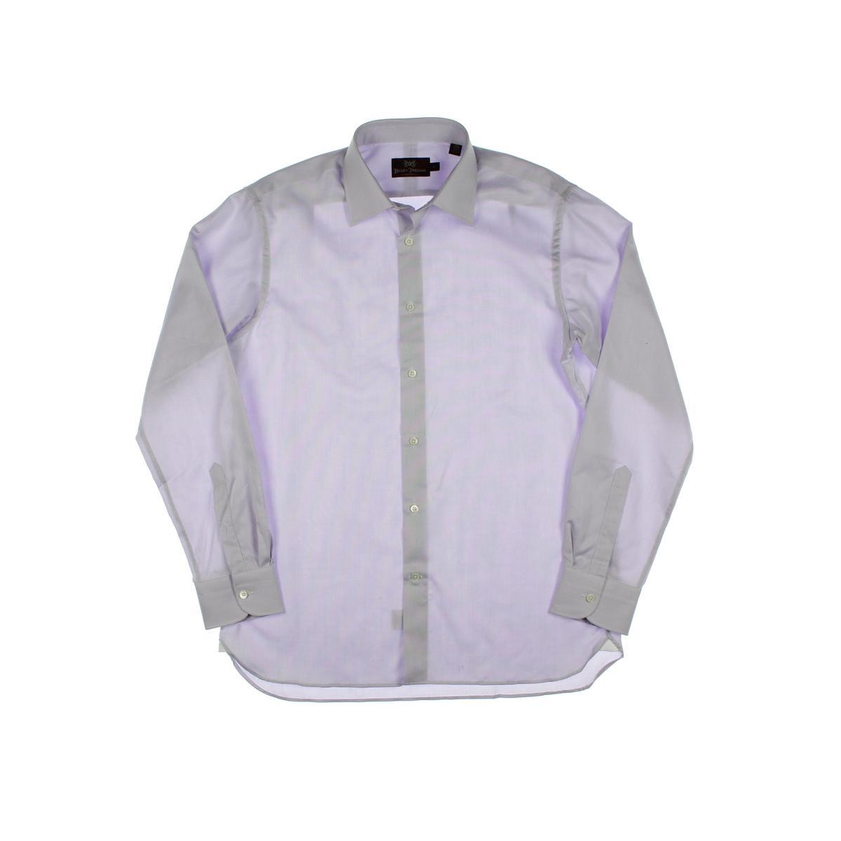 Hickey freeman 9372 mens pindot tab collar long sleeves for Mens tab collar dress shirts