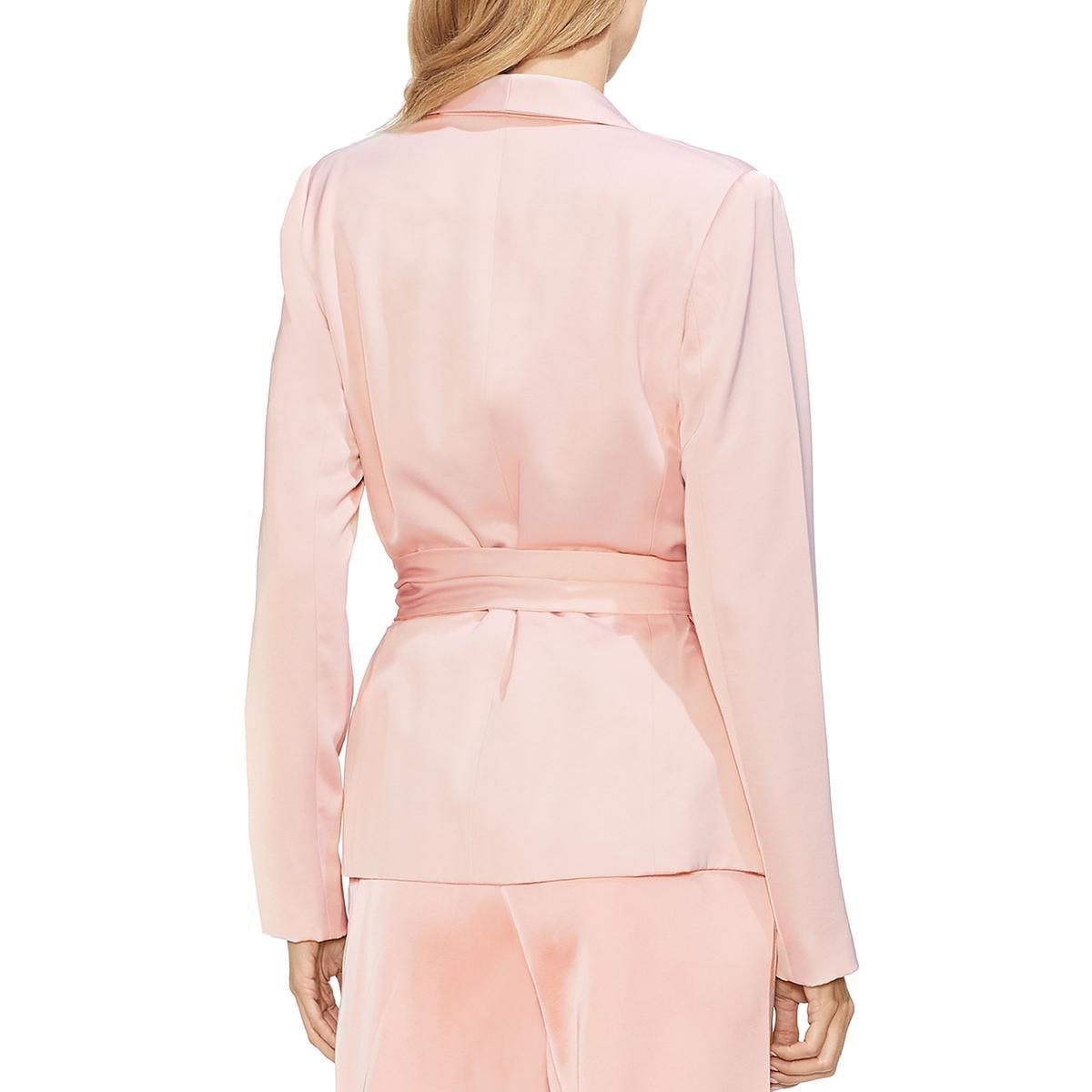 Vince Camuto Womens Pink Satin Shawl Collar Open-Front Blazer Jacket 2 BHFO 4177