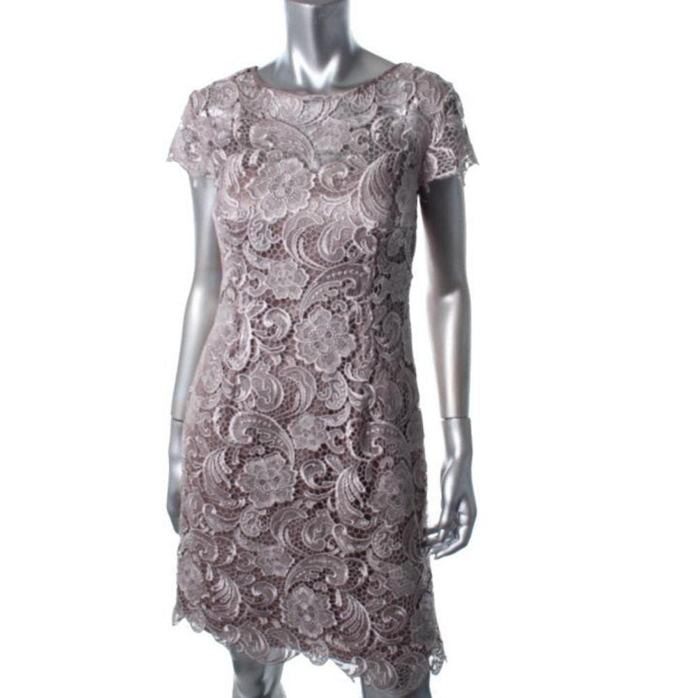 taupe lace cocktail dress