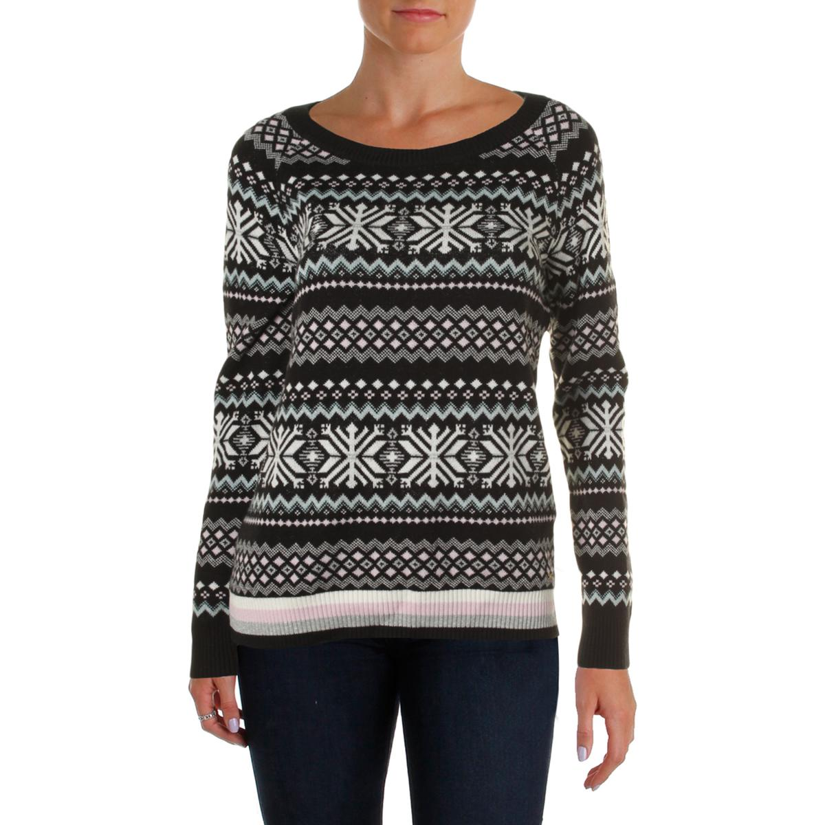 tommy hilfiger 1901 womens printed metallic crew neck pullover sweater top bhfo ebay. Black Bedroom Furniture Sets. Home Design Ideas