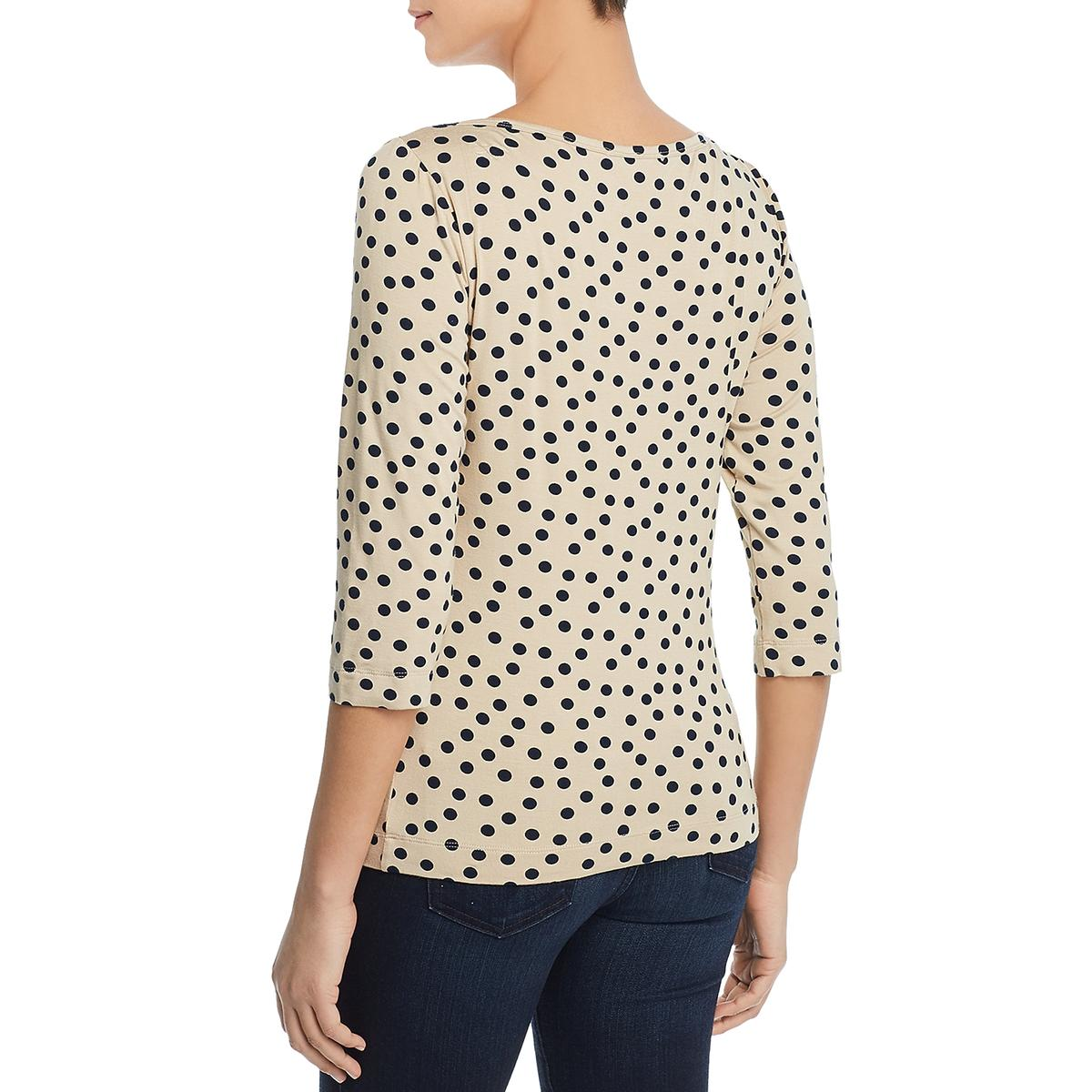 Three Dots Womens Polka Dot 3//4 Sleeve Tee T-Shirt Top BHFO 7333