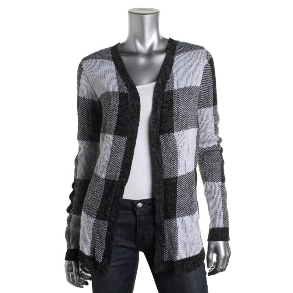 Oh MG! Checkered Open Front Cardigan Sweater