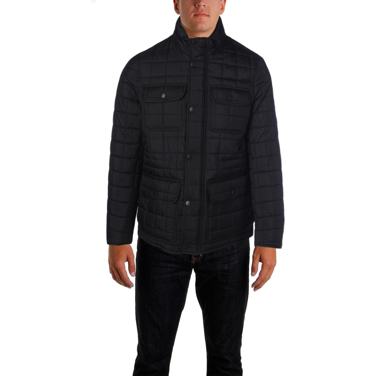 Tommy Hilfiger 3763 Mens Quilted Military Puffer Jacket Outerwear (Black)