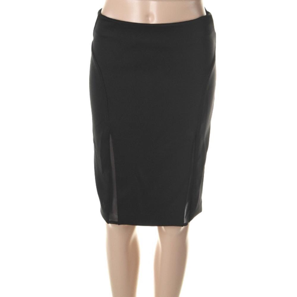 guess 2225 new womens black stretch mesh trim below knee