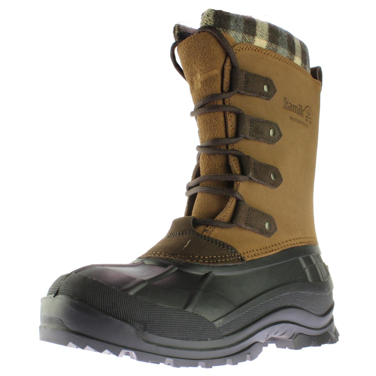 kamik 3566 womens calgary leather checkered pac boots