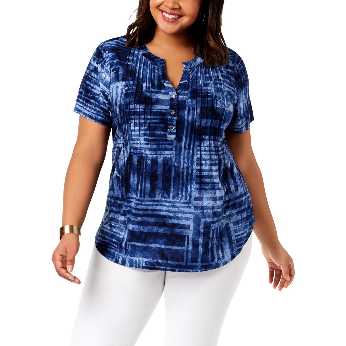 7a44deeeec3068 NY Collection Plus Womens Pintucked Short Sleeves Blouse