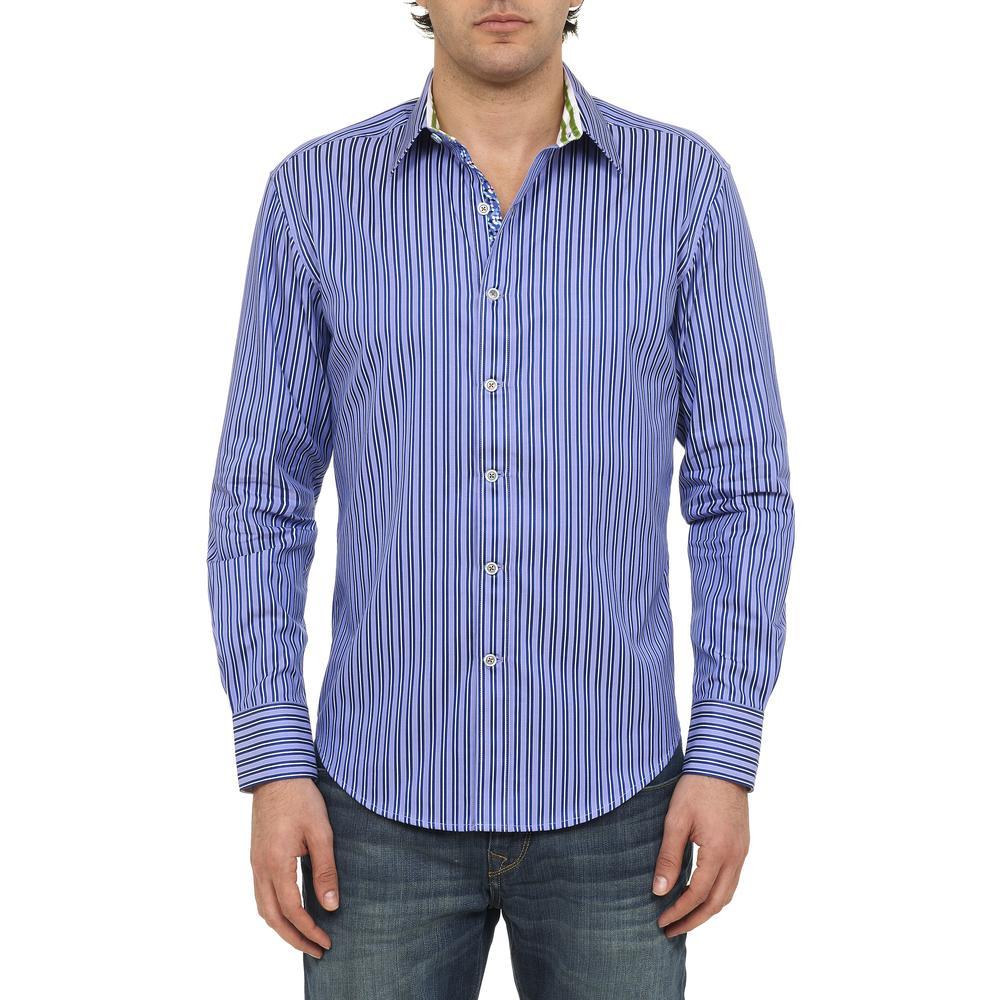 Robert graham new ss minnow blue striped button down shirt for Robert graham tall shirts