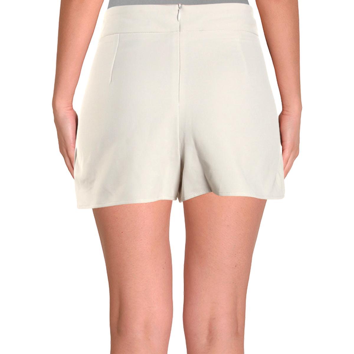 Aqua Womens Linen Blend High Rise Paperbag Shorts BHFO 6812