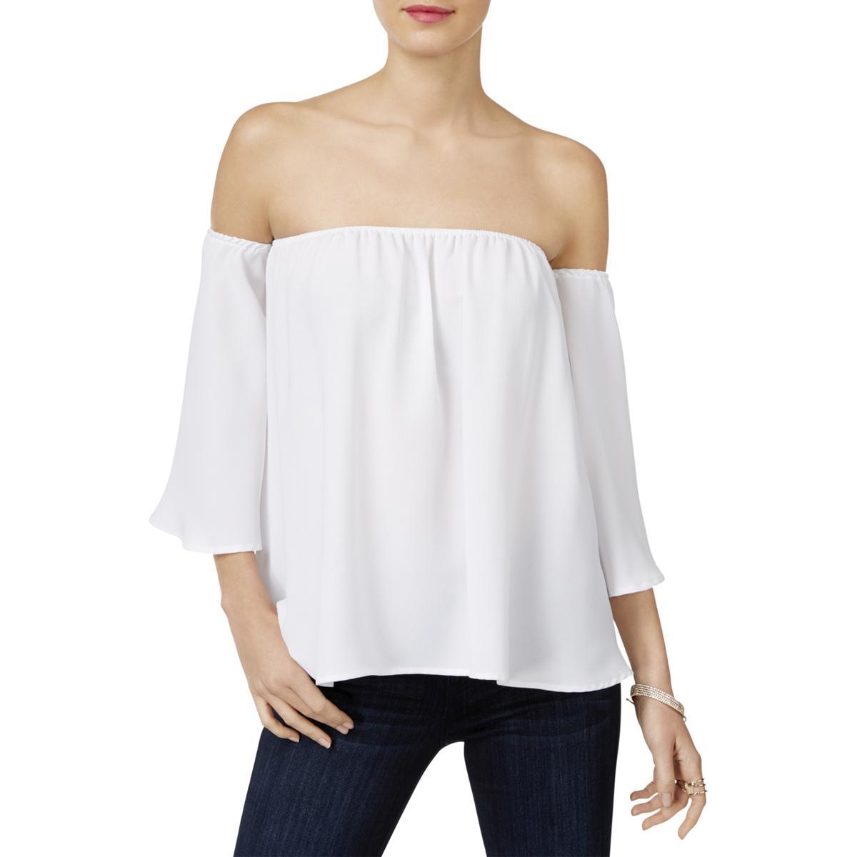 a83f713bf9fa0 Inc Womens White Chiffon off The Shoulder Casual Blouse Top L BHFO ...