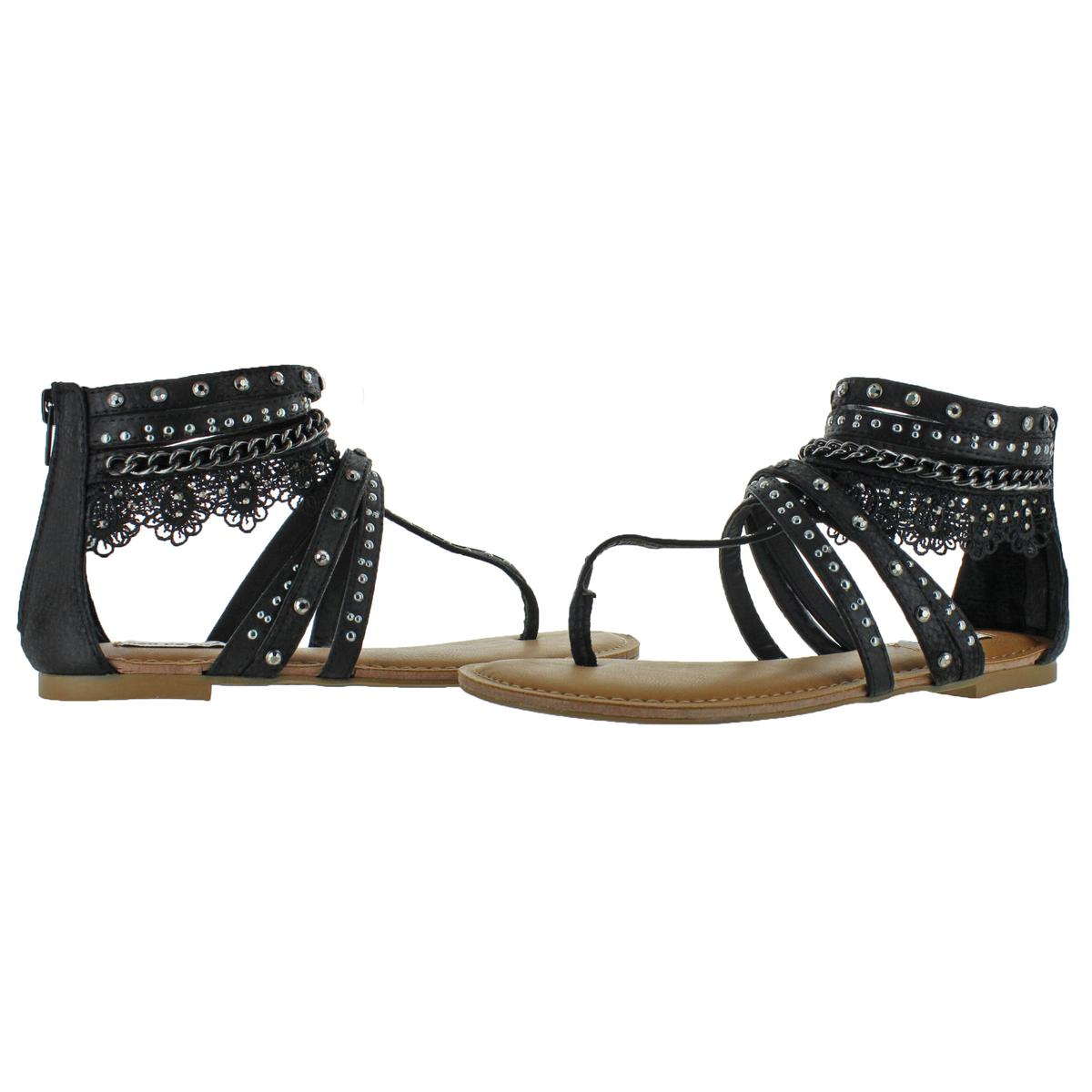 Not-Rated-Women-039-s-Willow-Faux-Leather-Studded-Thong-Gladiator-Sandals thumbnail 3