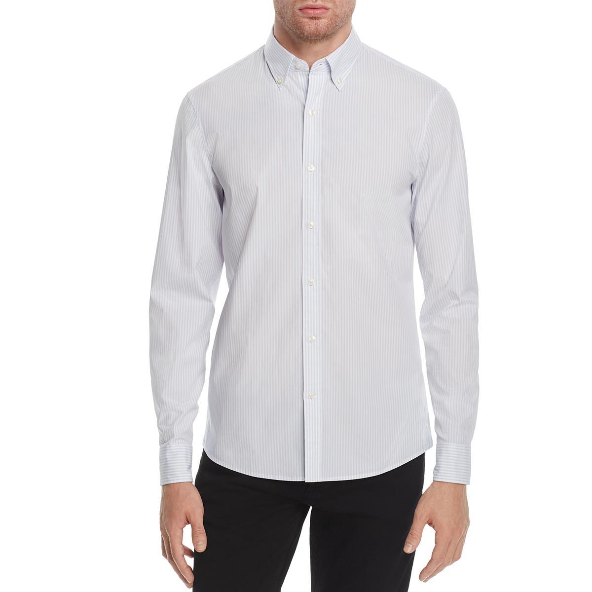 d5d3ec2b2 Details about Michael Kors Mens Blue Striped Long Sleeves Button-Down Shirt  Top L BHFO 7930