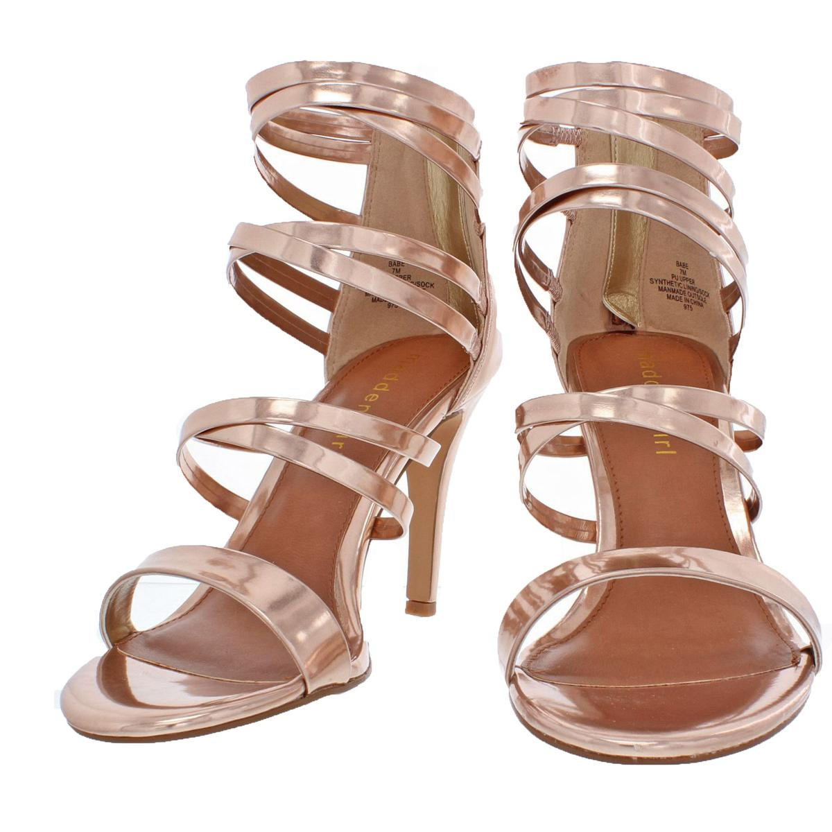 f097398299f Details about Madden Girl by Steve Madden Womens Babe Metallic Strappy  Sandals Heels BHFO 9082