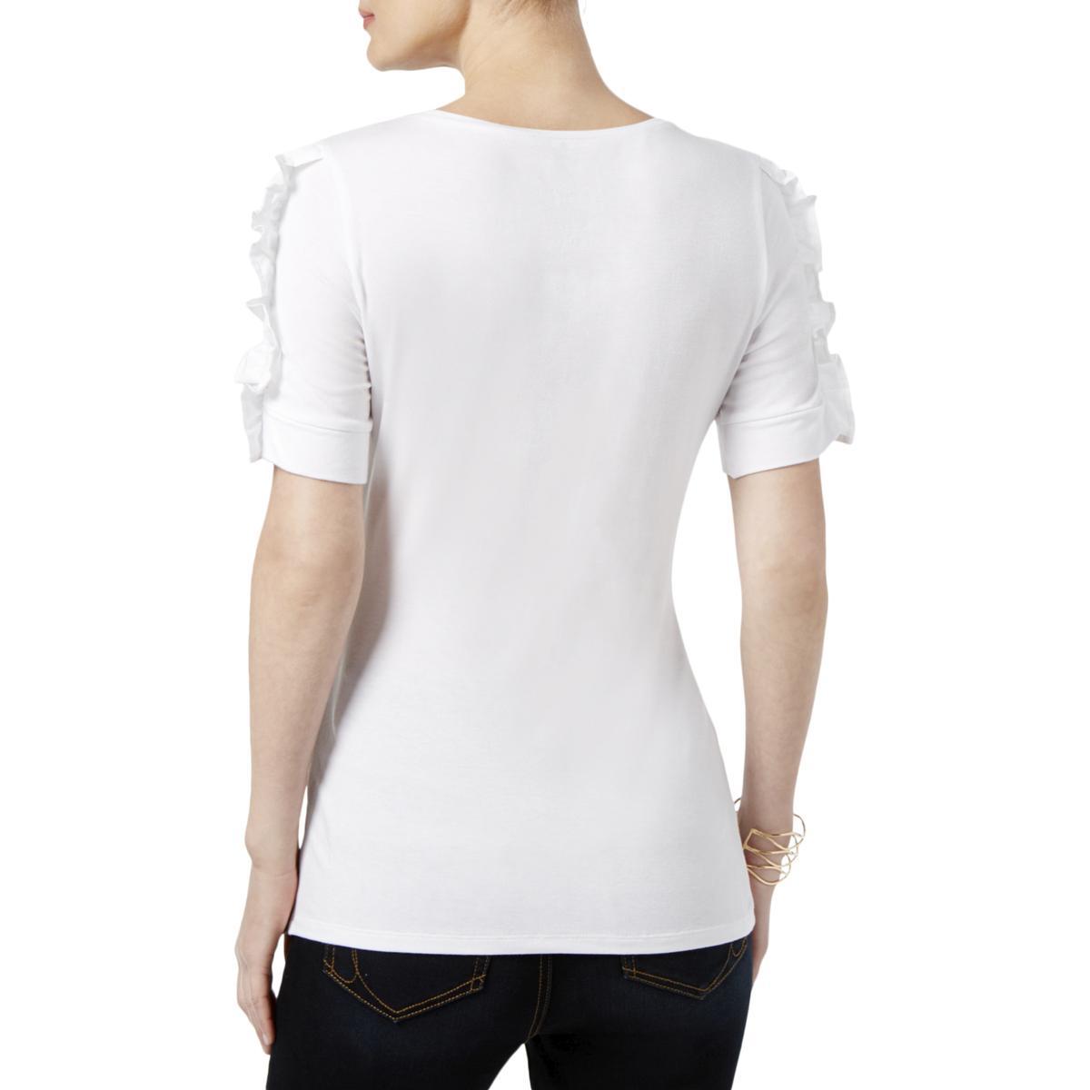 4edfdb0d INC Womens White Ruffled Short Sleeves Scoop Neck Casual Top Shirt L ...
