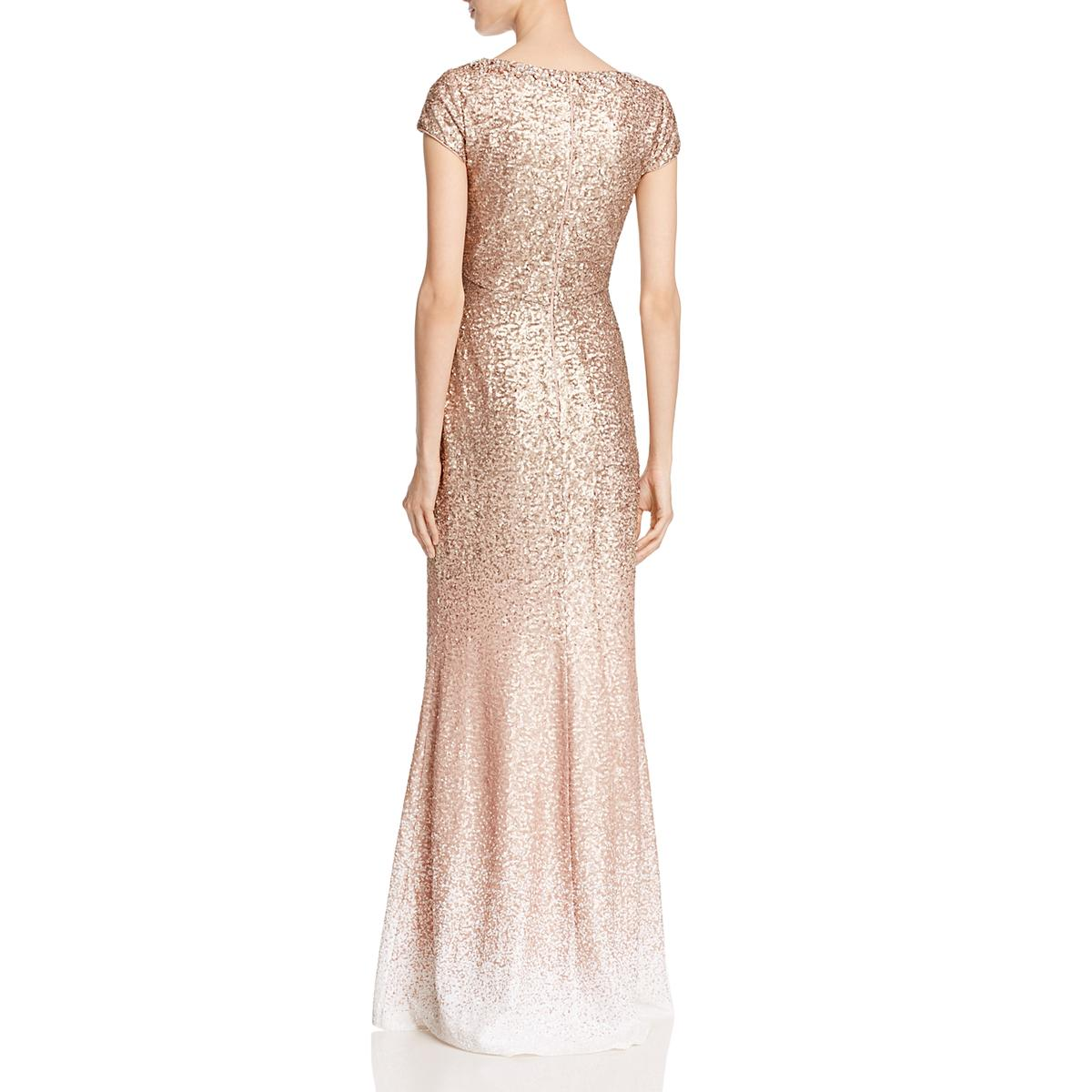 07b3f84128 Carmen Marc Valvo Womens Pink Sequined Ombre Evening Dress Gown 4 ...