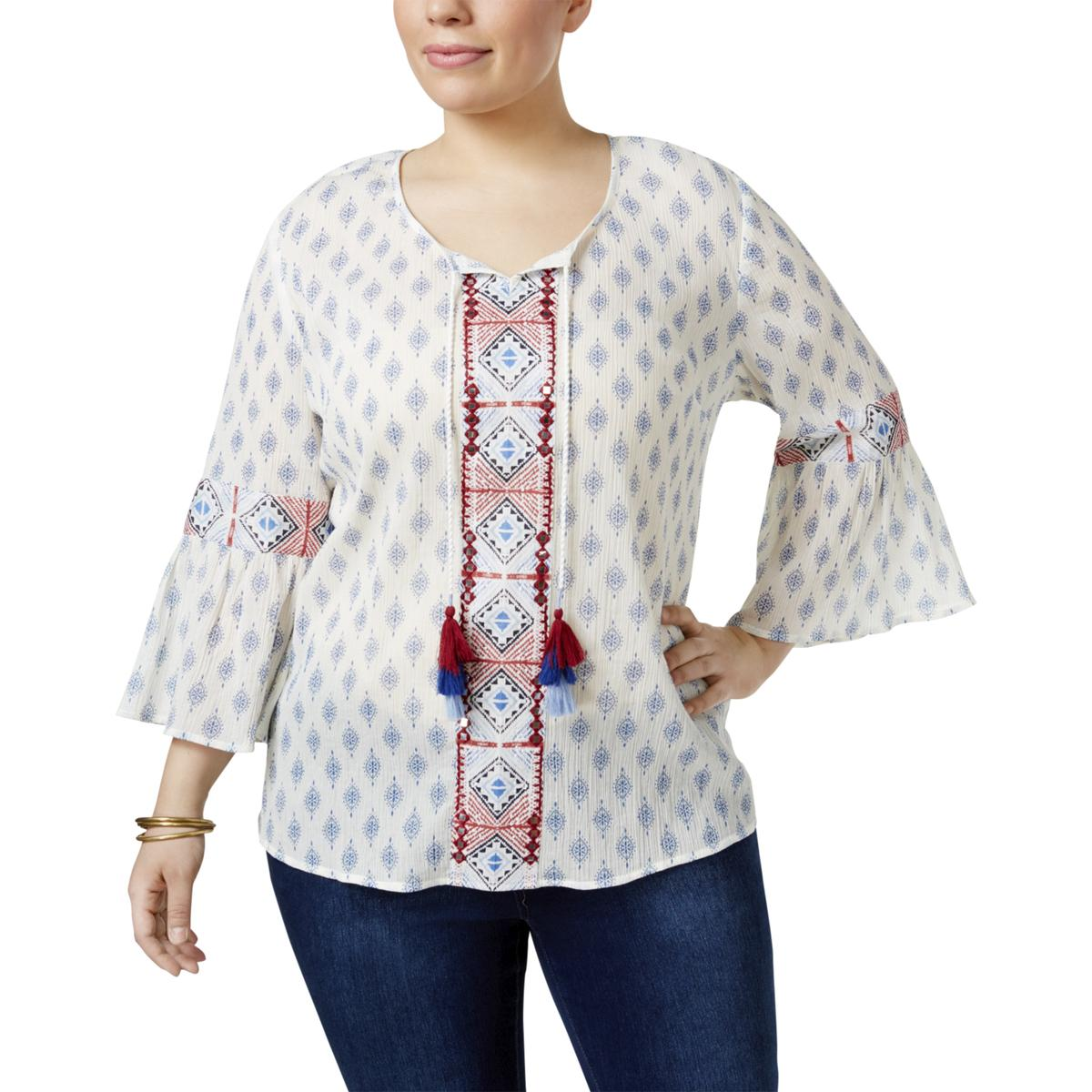 a1668b5da0cf4 Style Co Plus Size Top 1x Mixed Print Peasant Blouse White for sale ...