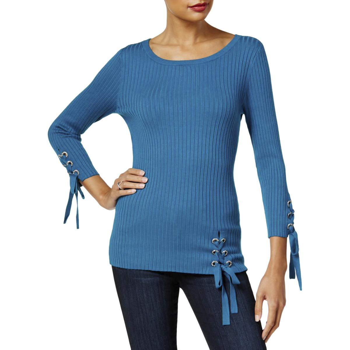 30adc8e418 Details about INC Womens Ribbed Lace up Long Sleeve Pullover Sweater Top  BHFO 1478