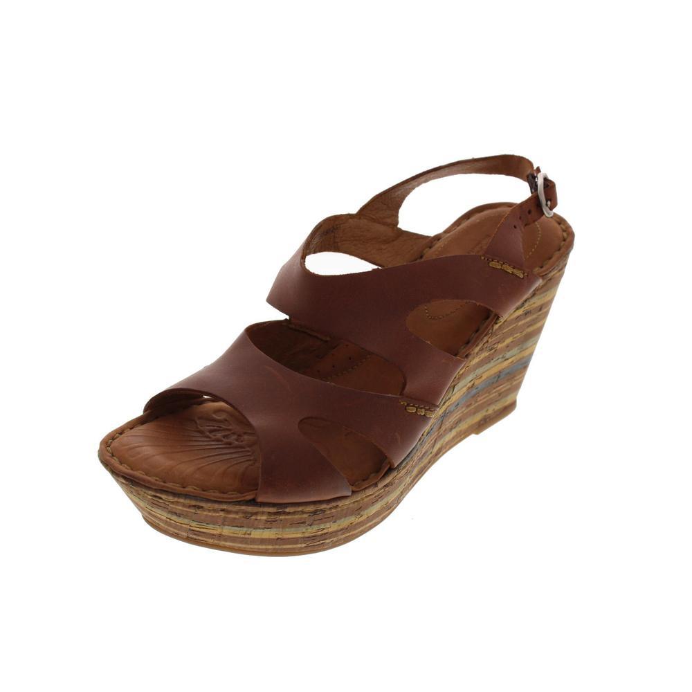 born bulena brown leather platform shoes wedges sandals 7