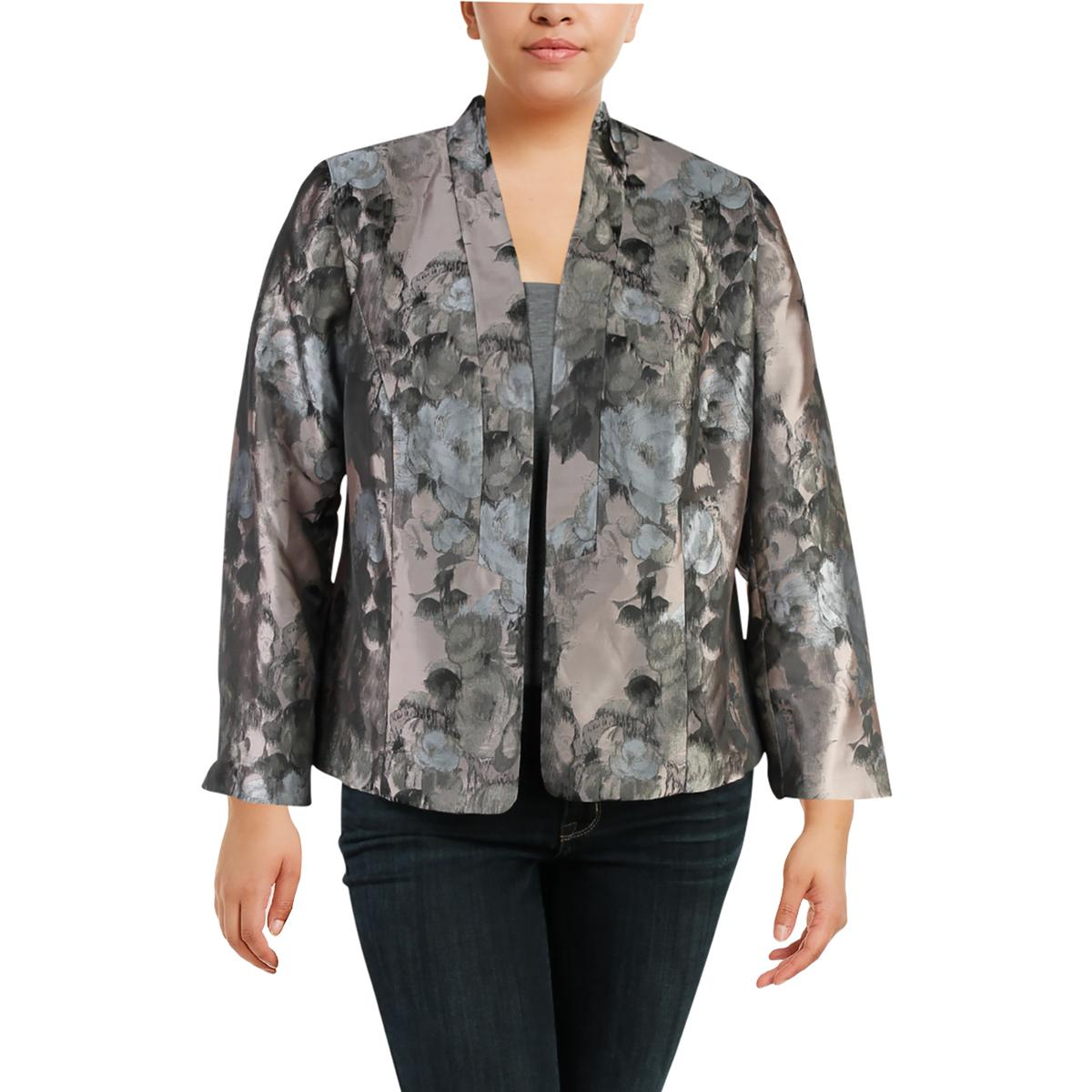 c6732633ce2 Details about Kasper Womens Floral Work Wear Business Open-Front Blazer  Jacket Plus BHFO 2460