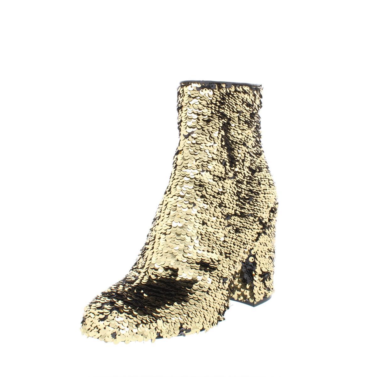 9620f2efa72 Details about Steve Madden Womens Georgia Gold Sequin Booties Heels 5.5  Medium (B
