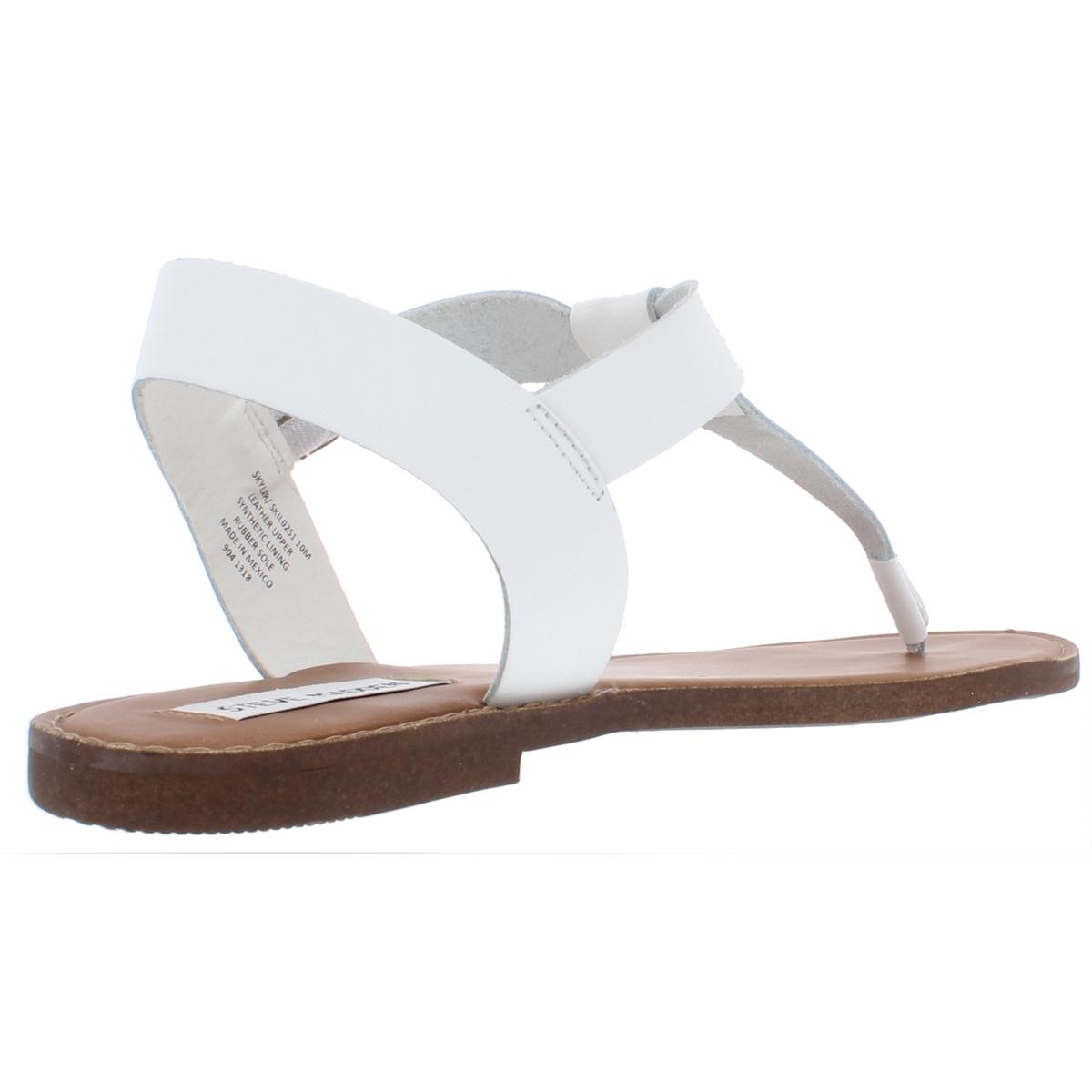 Steve-Madden-Womens-Skylar-Leather-Flats-Thong-T-Strap-Sandals-Shoes-BHFO-6308 thumbnail 8