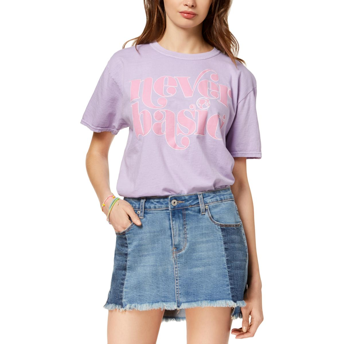 30baf756 Details about Barbie Womens Never Basic Cropped Graphic T-Shirt Top Juniors  BHFO 5051
