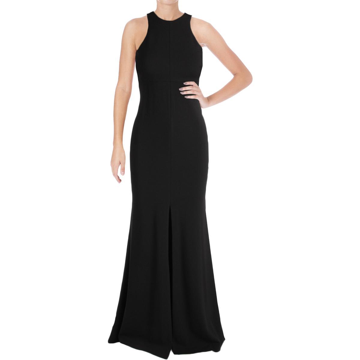 Vera Wang Black Sleeveless Crepe Halter Slit Gown 4 | eBay