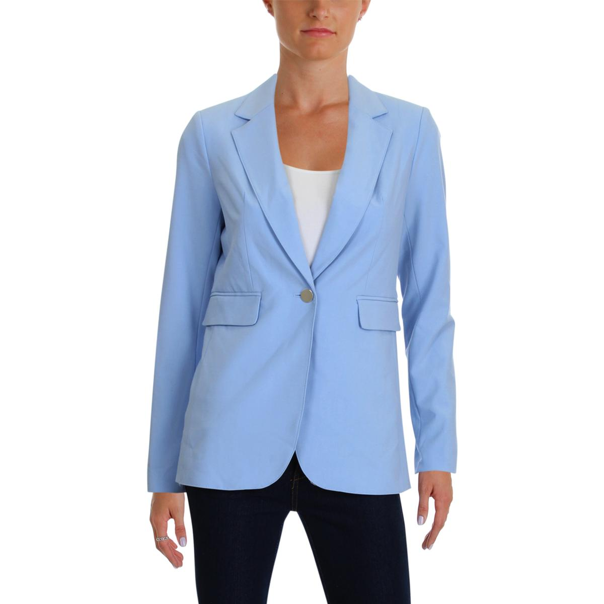 56ef1010 Details about Calvin Klein Womens Blue Office One-Button Blazer Jacket  Petites 2P BHFO 1388