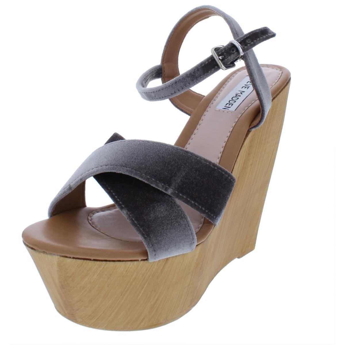 4e692f764bf Details about Steve Madden Womens Brittany Black Velvet Wedges Shoes 9  Medium (B,M) BHFO 1965