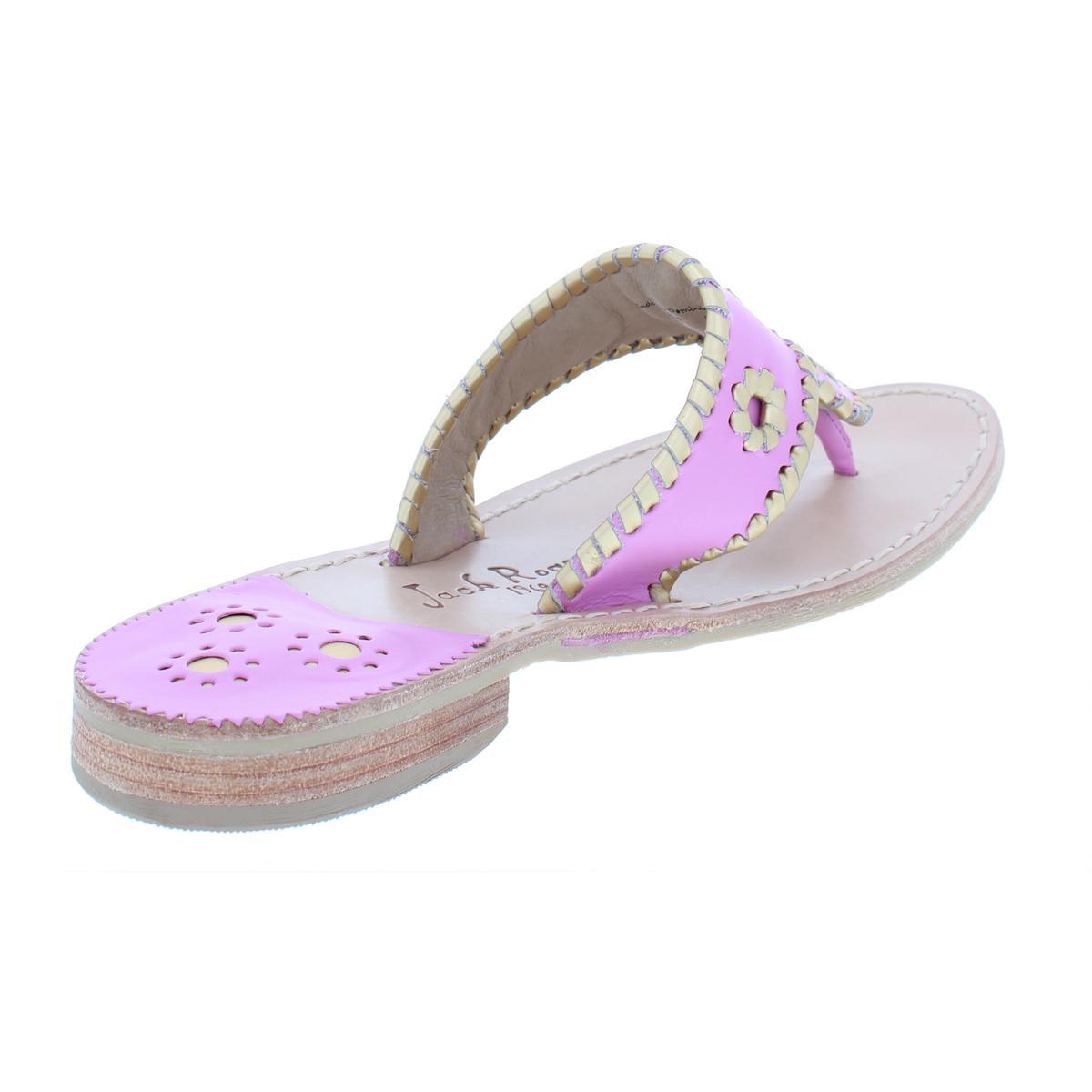 e7905d9eddf6 Jack Rogers Womens Hollis Metallic Leather Thong Flip-Flops Sandals ...