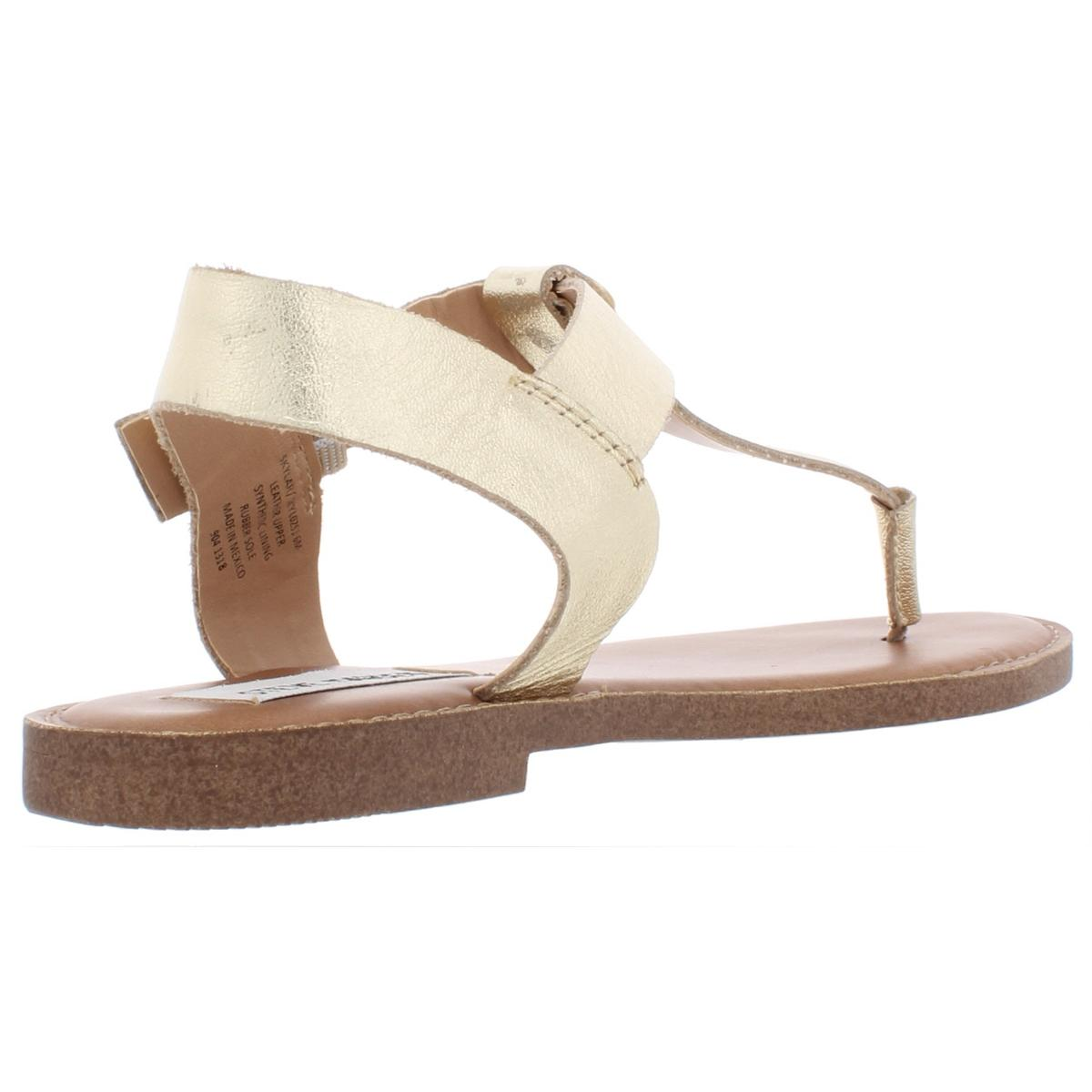 Steve-Madden-Womens-Skylar-Leather-Flats-Thong-T-Strap-Sandals-Shoes-BHFO-6308 thumbnail 6