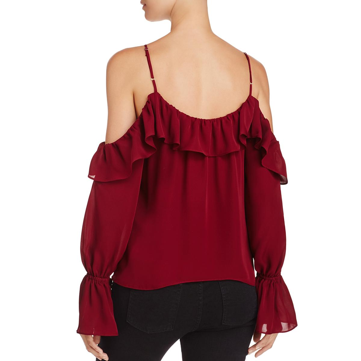 22c57476f3f93d Details about Parker Womens Renzo Silk Off-the-Shoulder Ruffled Blouse Top  BHFO 7594