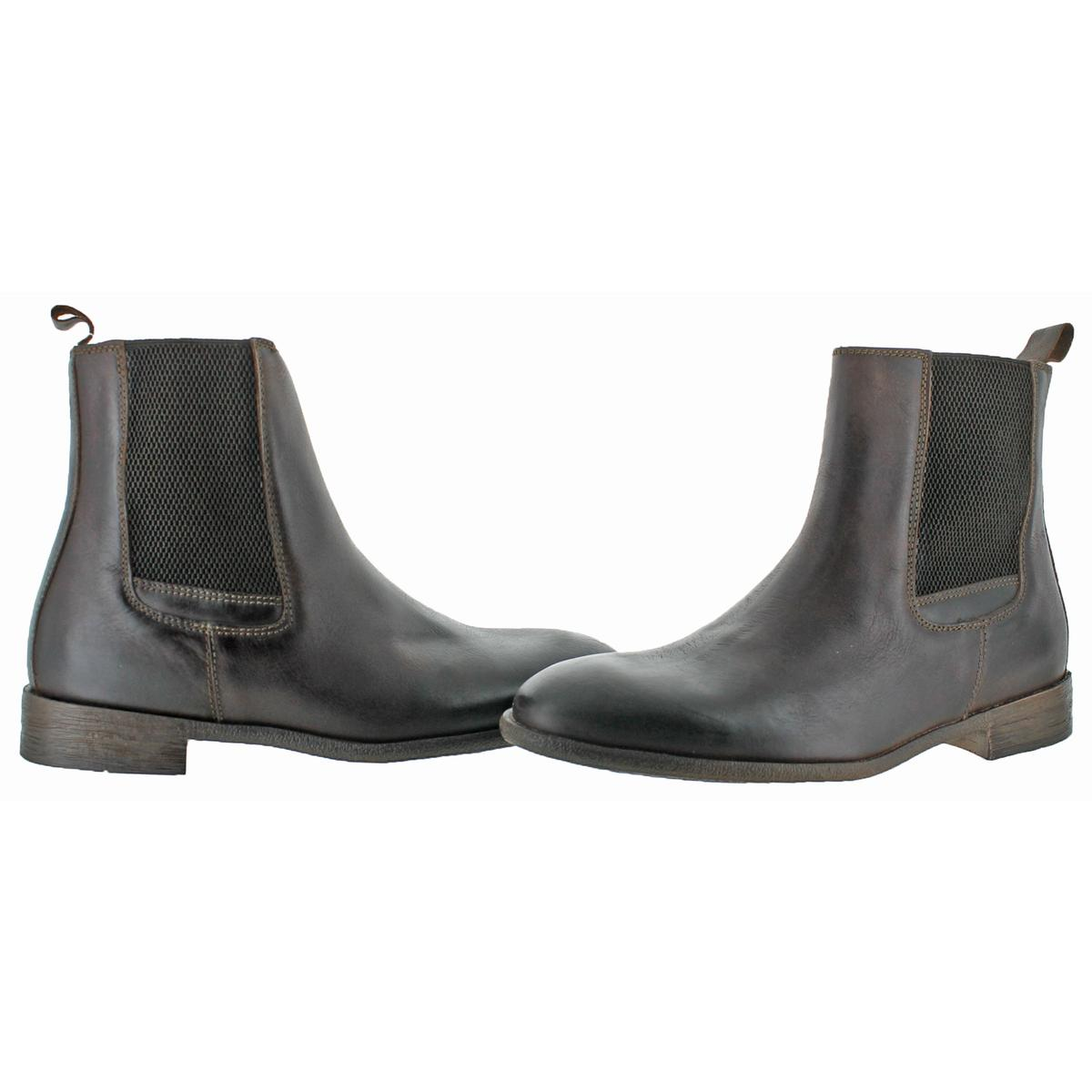 Robert-Wayne-Oregon-Men-039-s-Leather-Round-Toe-Pull-On-Chelsea-Ankle-Boots-Shoes