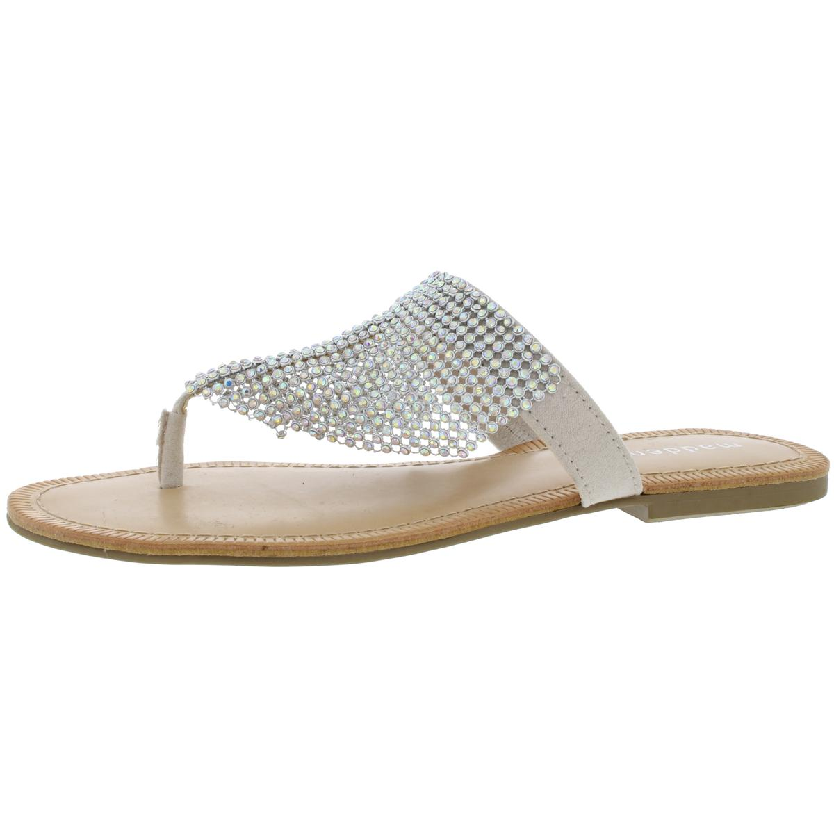 013e74152bf Details about Madden Girl Womens Sabeer Silver Thong Sandals Shoes 5.5  Medium (B