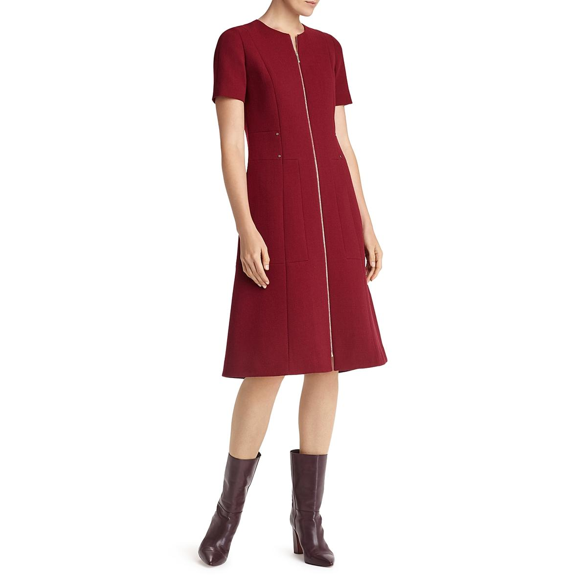 27b33dc1e83 Details about Lafayette 148 New York Womens Sonya Red Wool Wear to Work  Dress 0 BHFO 2453