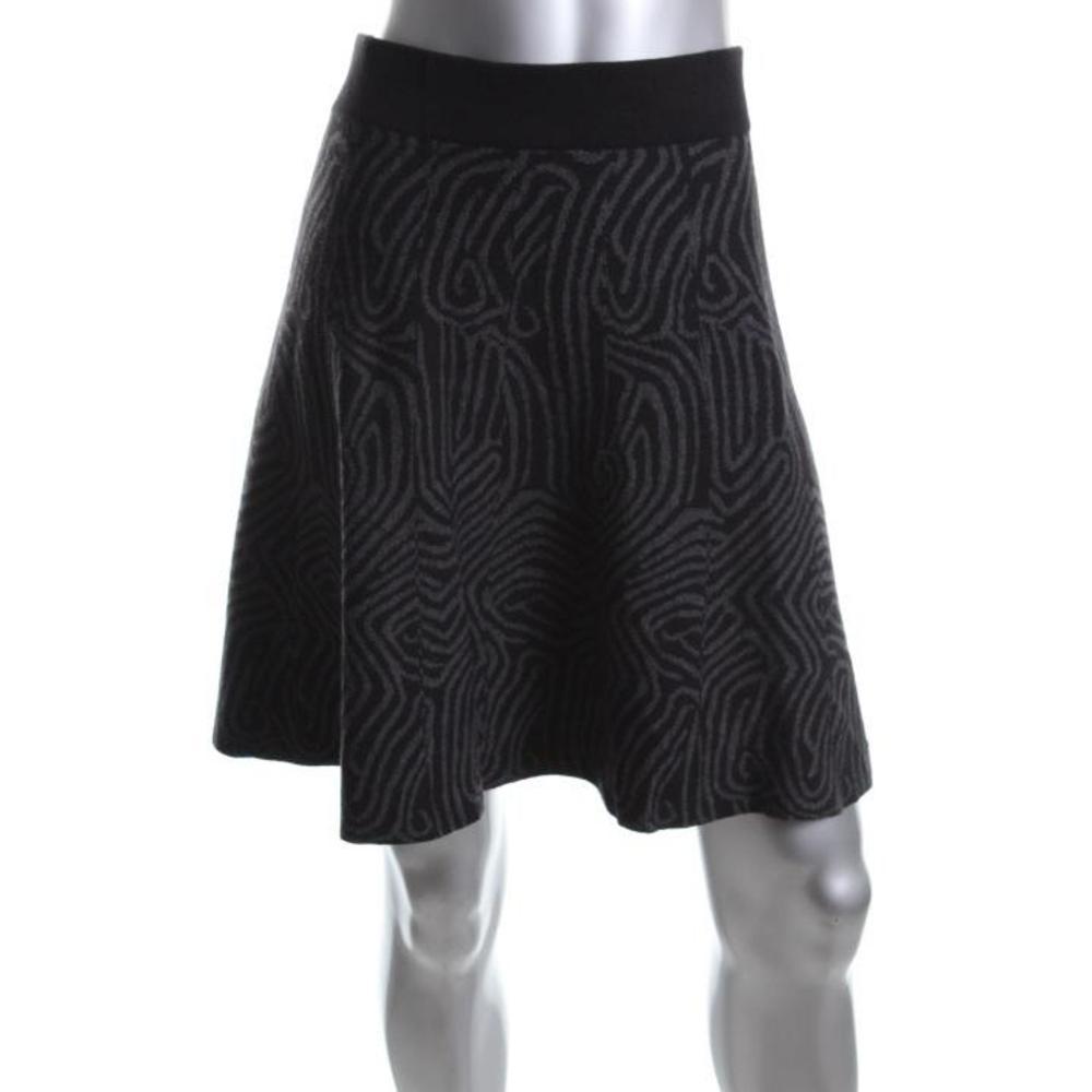 alfani new gray knit pattern knee length a line skirt