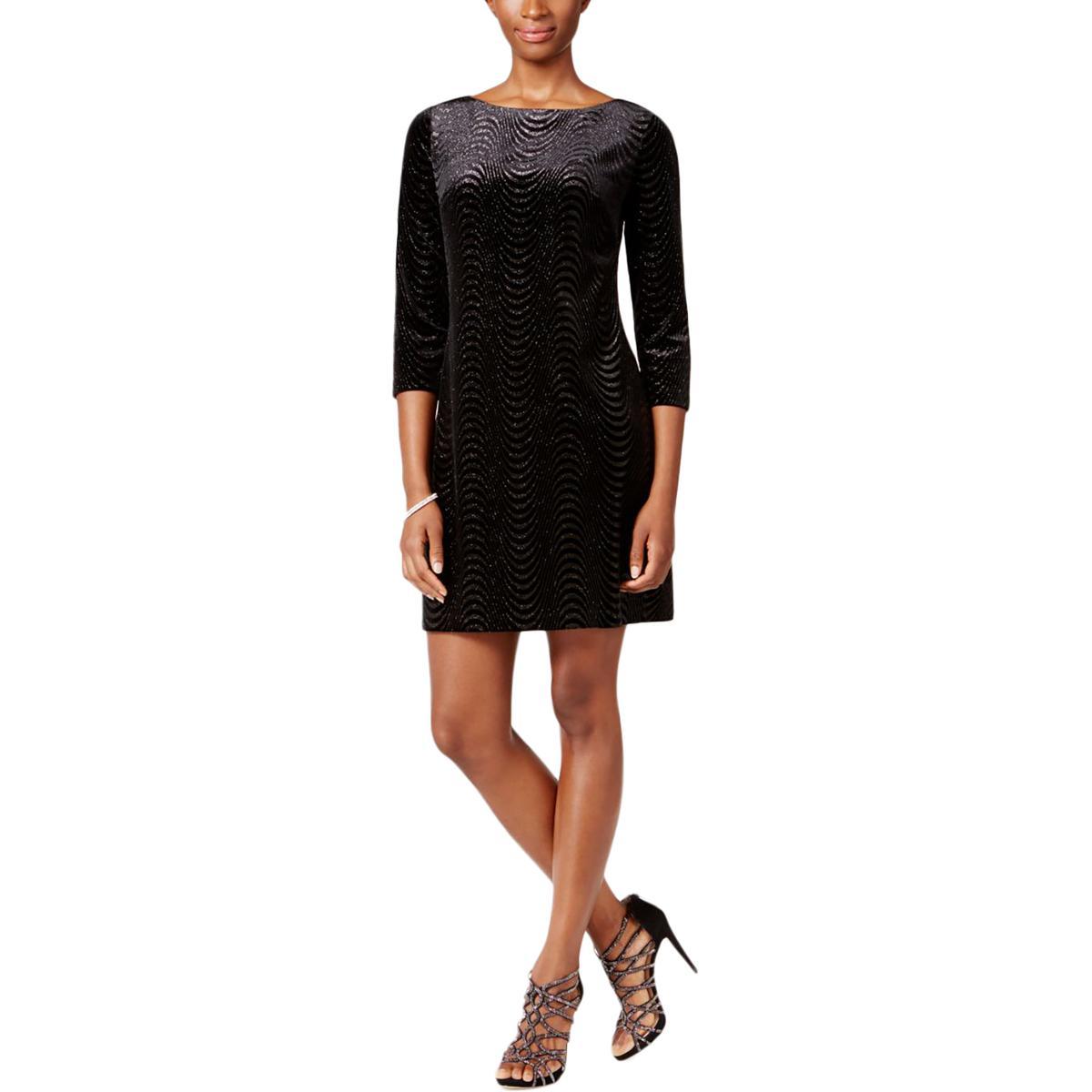 393a7c0b96c2a Jessica Howard 3626 Size 8 Womens Black Metallic Shift Dress Above ...