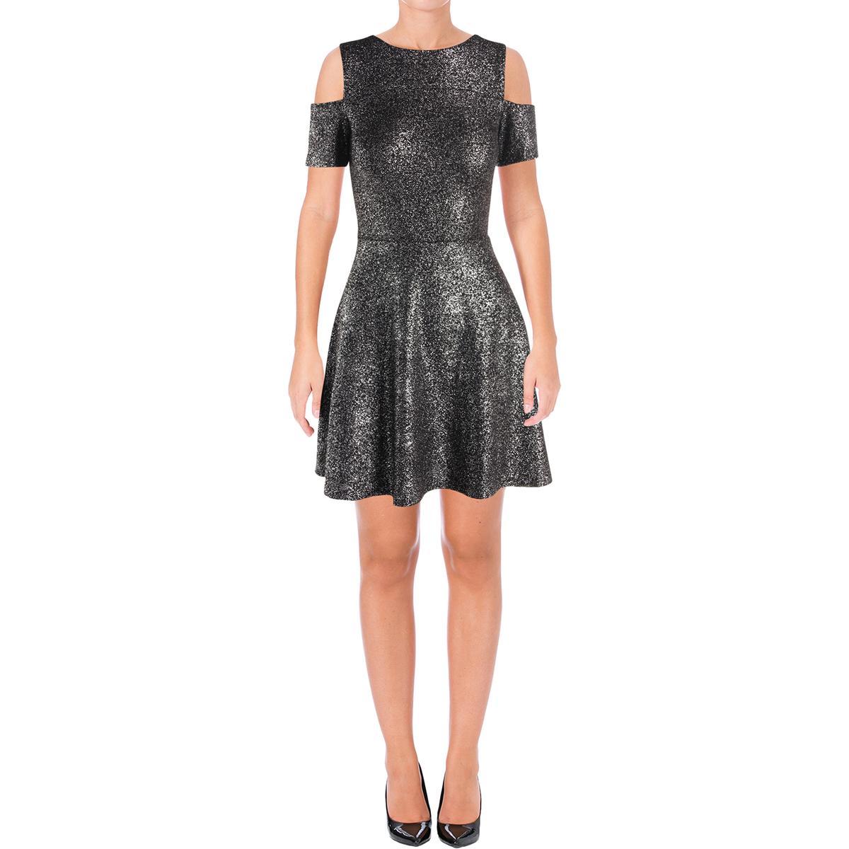 Aqua Womens Splatter Cold Shoulder Above Knee Party Clubwear Dress BHFO 7587