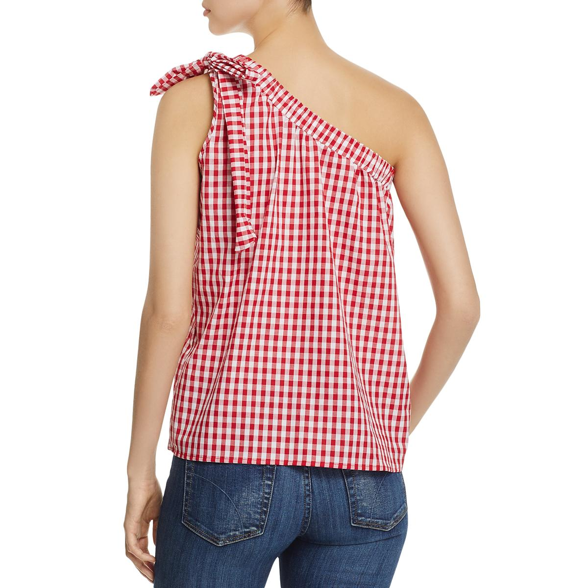 b9c9f11cecb303 Details about Elan Womens Checkered One Shoulder Expandible Casual Top  Shirt BHFO 0933