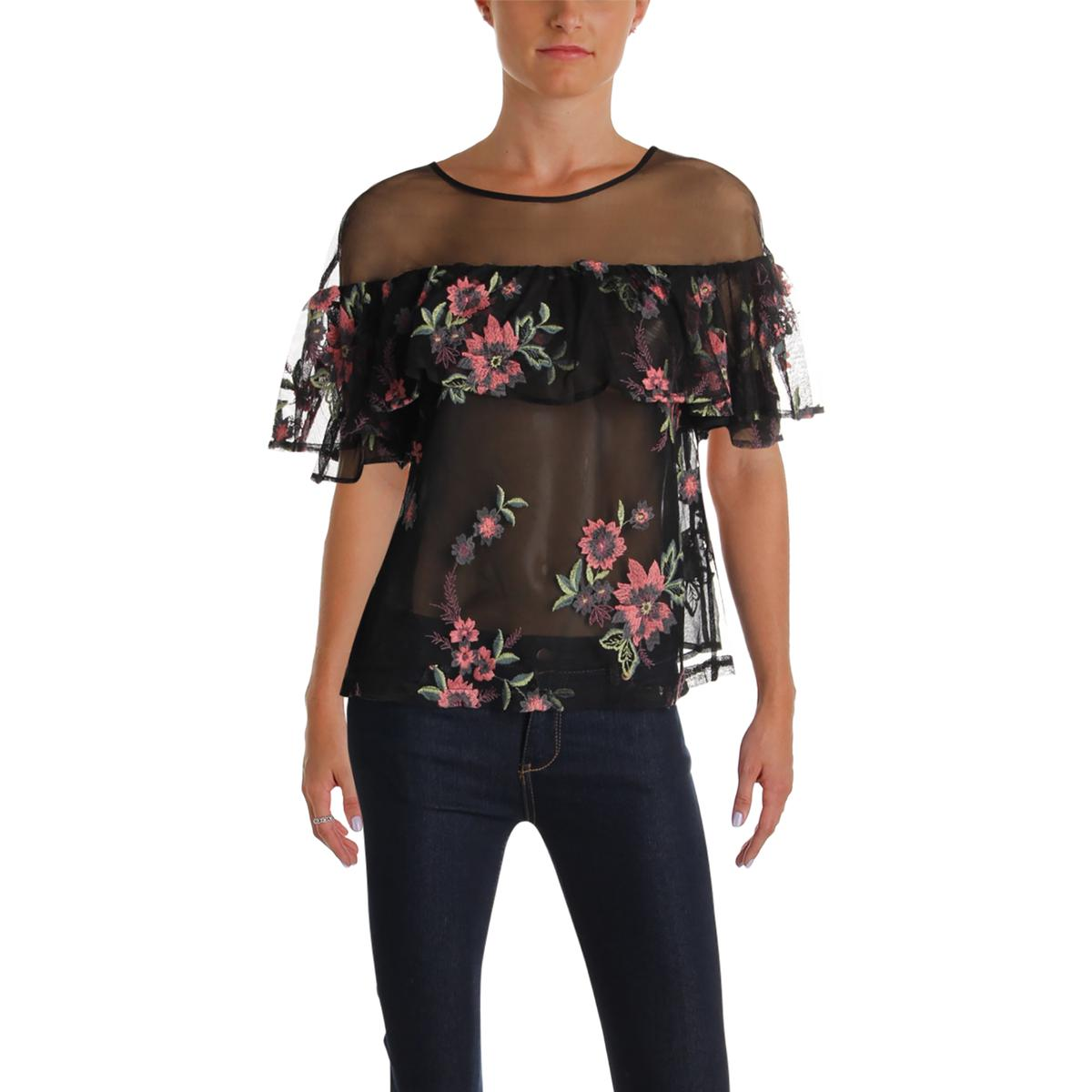 53c95a229aa BB Dakota Womens Rayna Black Mesh Floral Print Blouse Top S BHFO ...