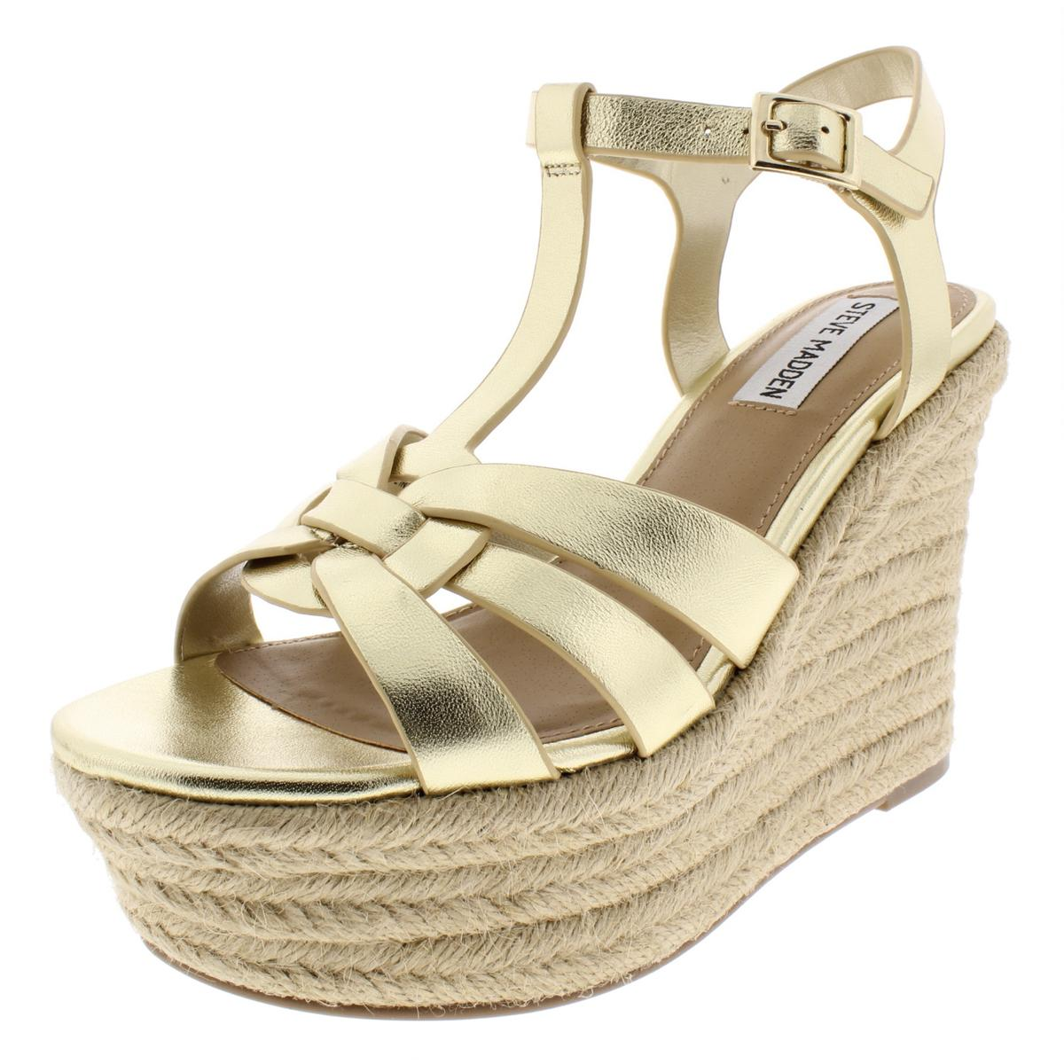 4fe7b9597b0 Details about Steve Madden Womens Keesha Gold Espadrilles Wedges 7.5 Medium  (B