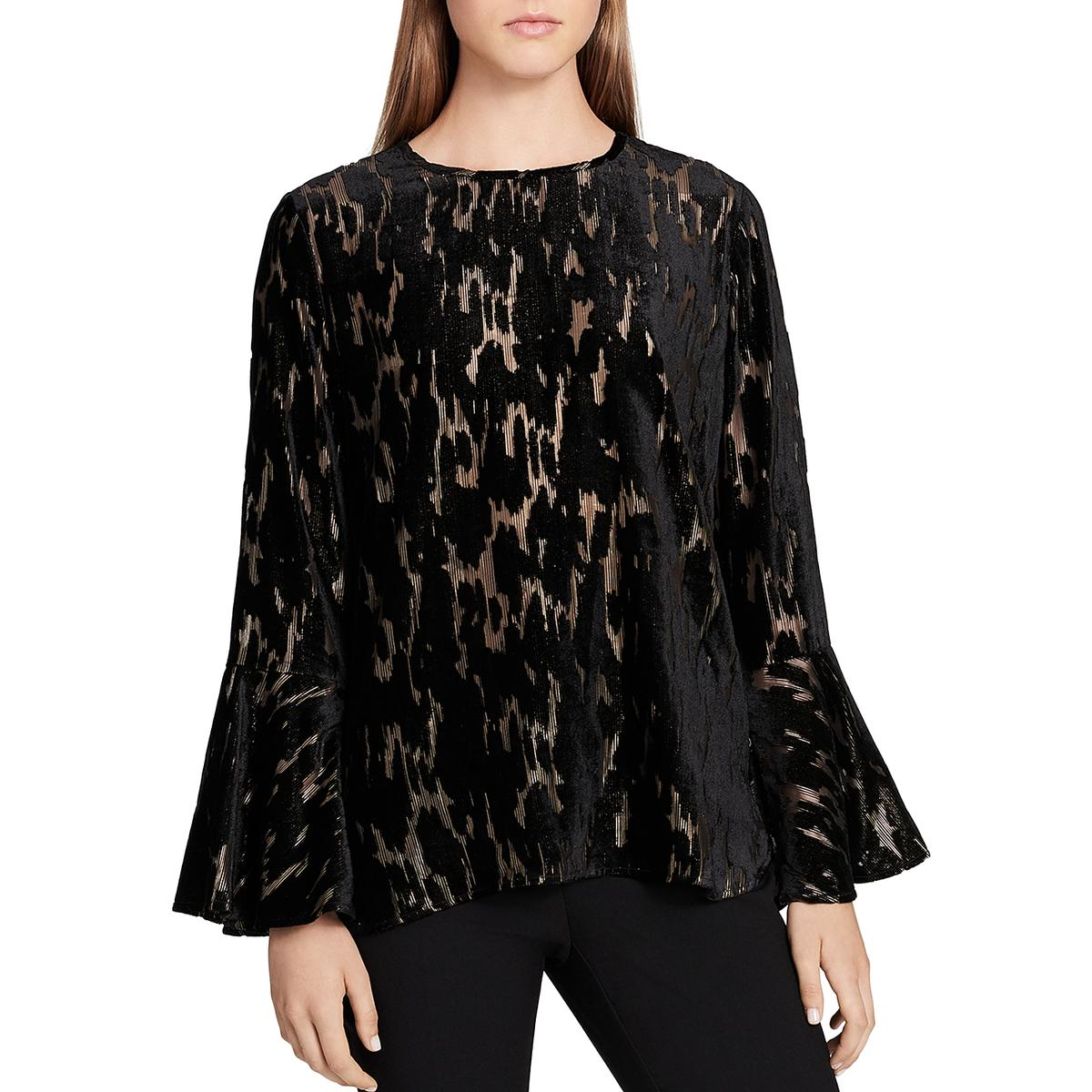 2ccb926d81ef92 Details about Calvin Klein Womens Metallic Bell Sleeves Flocked Dress Top  Blouse BHFO 0842
