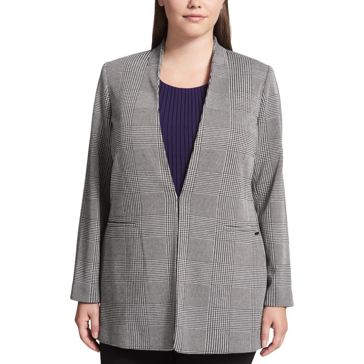 44f6a7685d5 Details about Calvin Klein Womens Glen Plaid Business One-Button Blazer  Jacket Plus BHFO 3657