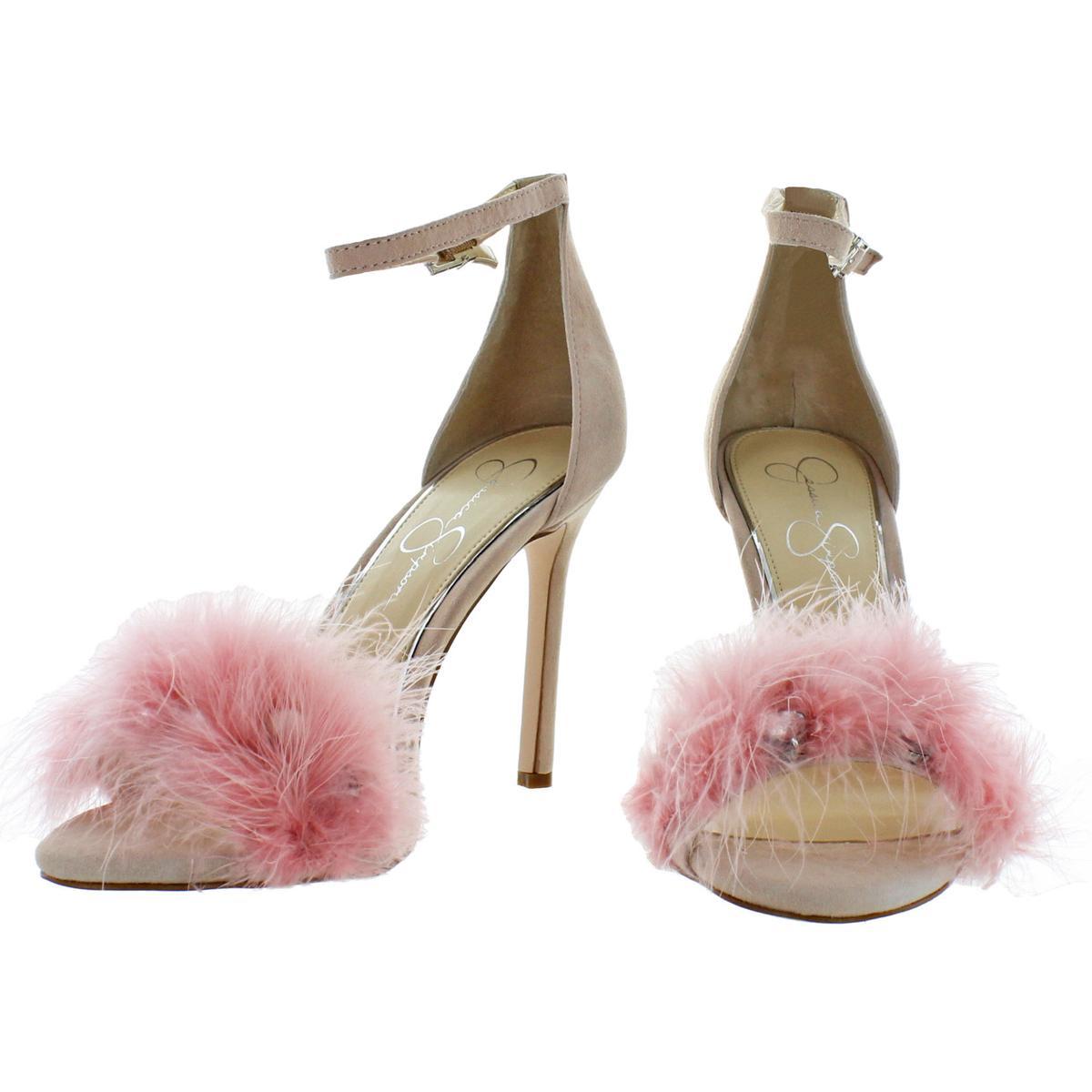 Jessica-Simpson-Womens-Jolinda-Suede-Feather-Dress-Sandals-Shoes-BHFO-8609 thumbnail 6
