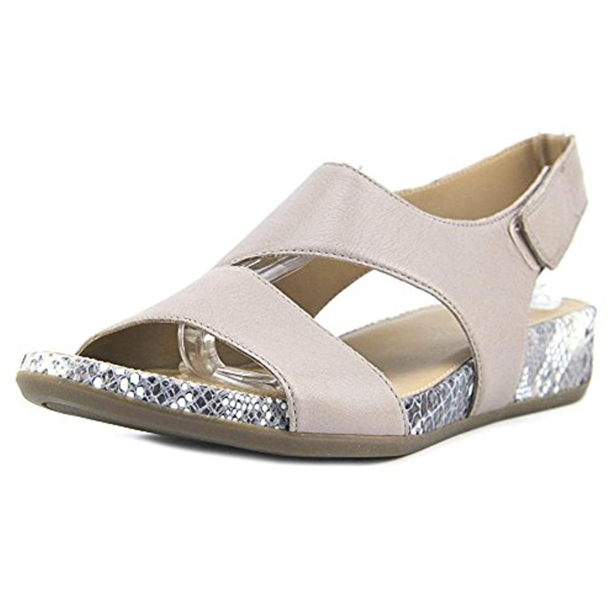 Naturalizer-Womens-Yessica-Leather-Snake-Trim-Wedge-Sandals-Shoes-BHFO-3461