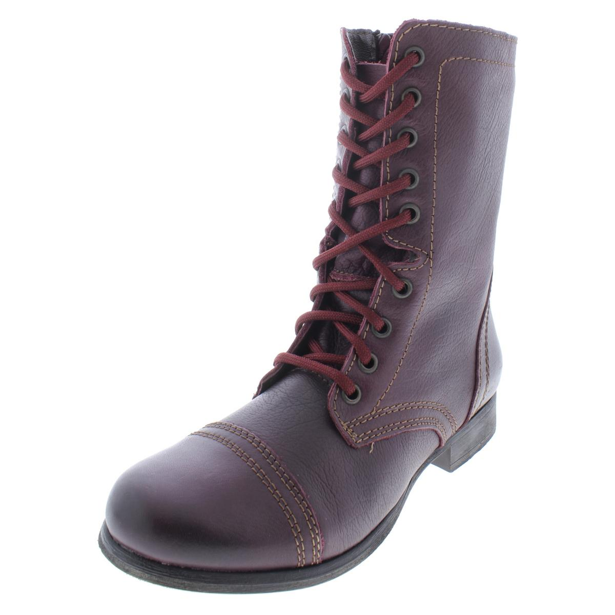 a8e93f37d98 Details about Steve Madden Womens Troopa Red Ankle Combat Boots Shoes 7  Medium (B