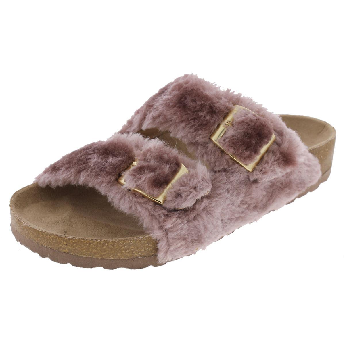 80852a46ef7 Details about Steve Madden Womens Soul Faux Fur Double Strap Slide Sandals  Shoes BHFO 8692